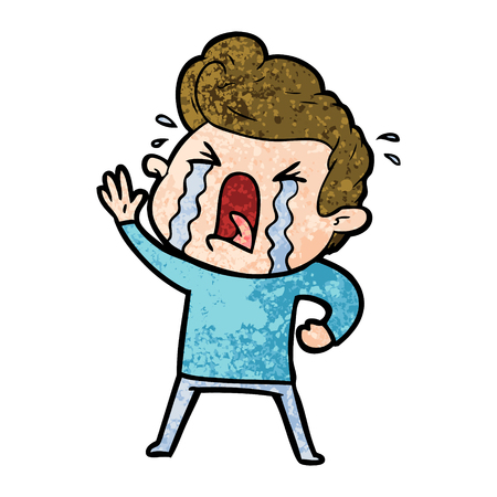 Cartoon huilende man