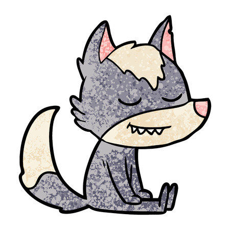 friendly cartoon wolf sitting down