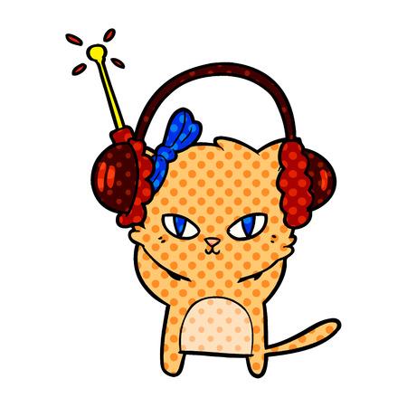 cute cartoon cat with headphones