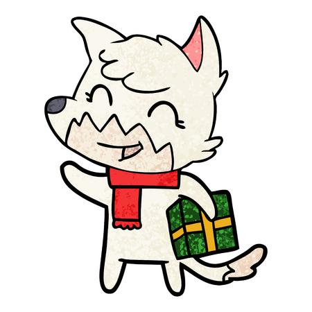 happy cartoon fox Illustration