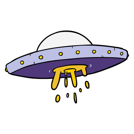 cartoon flying UFO Illustration