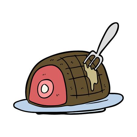 調理された牛肉の漫画プレート  イラスト・ベクター素材