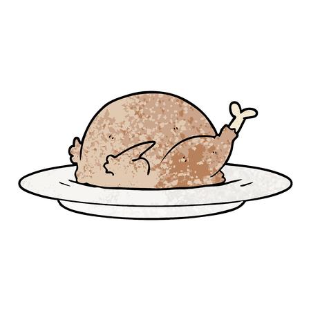 cartoon cooked turkey Ilustrace