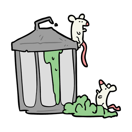 cartoon old metal garbage can with mice