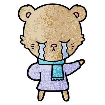 crying cartoon bear wearing winter clothes