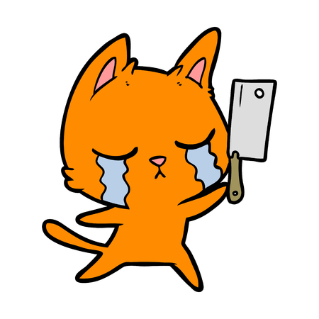 crying cartoon cat with cleaver Vector illustration.