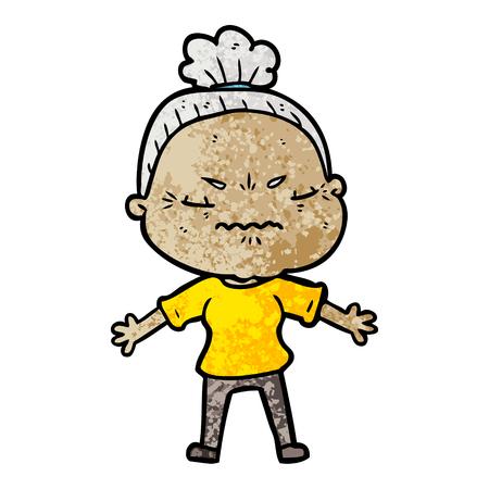 cartoon annoyed old lady Vector illustration. Stock Vector - 94730072