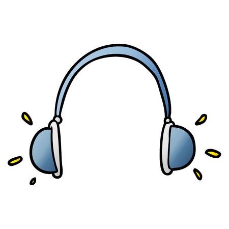 cartoon headphones illustration. Illustration