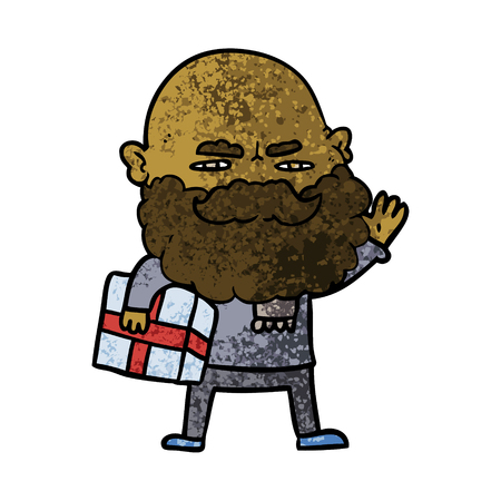 cartoon man with beard frowning with xmas gift Иллюстрация