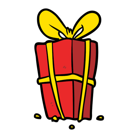 cartoon christmas present wrapped with bow