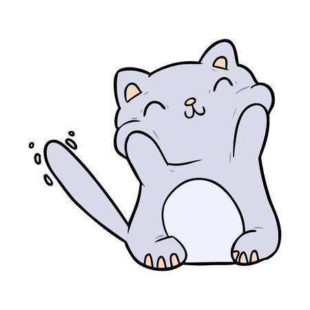 very happy cute cartoon cat  Illustration