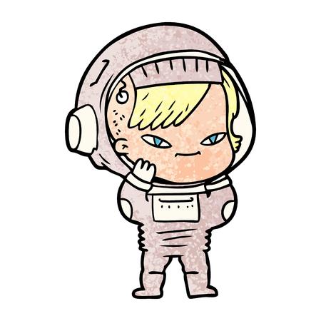 Cartoon Astronaut Frau Vektor-Illustration Standard-Bild - 94731536