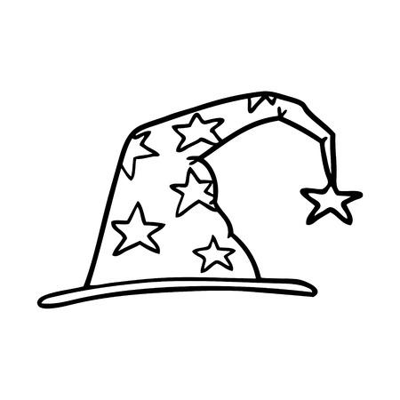 cartoon tovenaarshoed Vector illustratie.
