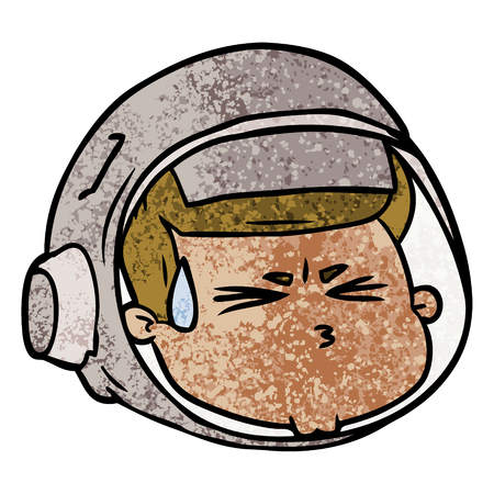 Cartoon benadrukt astronautengezicht.
