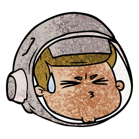 Cartoon stressed astronaut face. Illustration