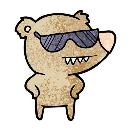 Sunglasses bear cartoon with hands on hips.