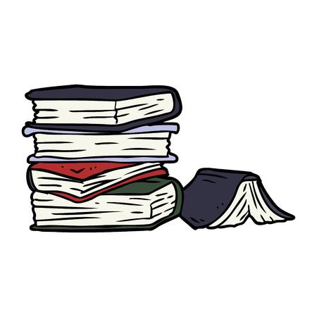 Cartoon pile of books. Illustration