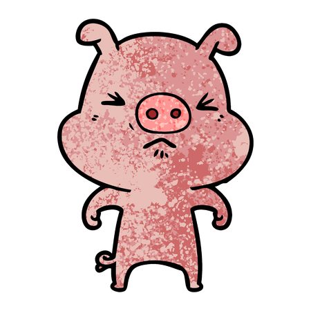 Cartoon angry pig. Illustration