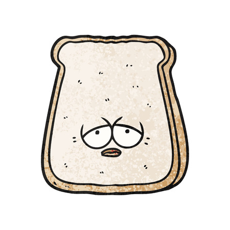 cartoon tired old slice of bread