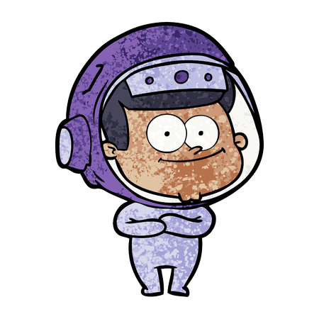 Happy astronaut cartoon icon. Illustration