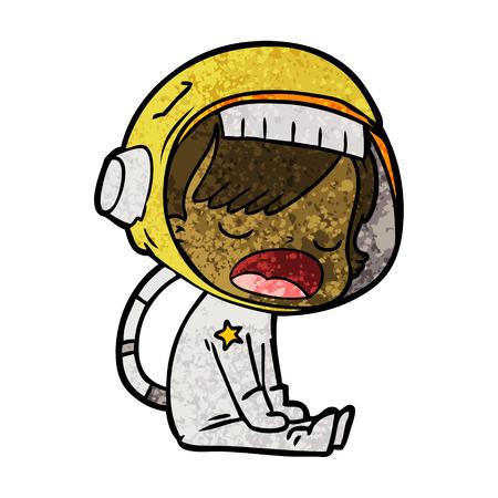 Cartoon talking astronaut.