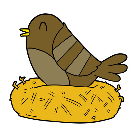 cartoon bird in nest Vector illustration.