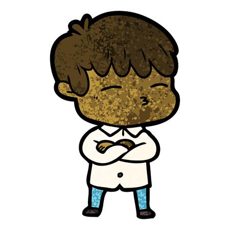 cartoon curious boy Vector illustration.