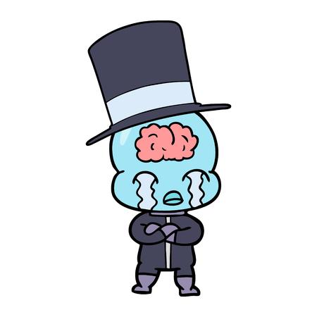 만화 큰 뇌 외계인 우는 벡터 일러스트 레이 션.