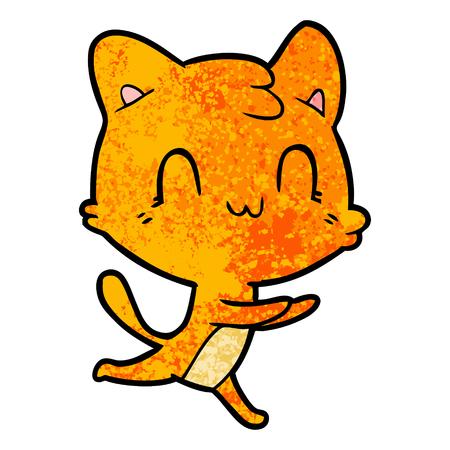 cartoon happy cat Vector illustration.