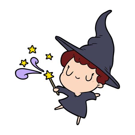 cute cartoon witch casting spell Vector illustration.