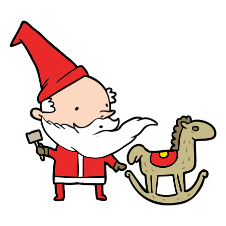 cartoon santa (or elf) making a rocking horse