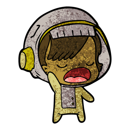 Mujer astronauta de dibujos animados explicando Foto de archivo - 94733866