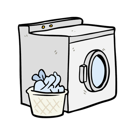 cartoon washing machine and laundry 矢量图像