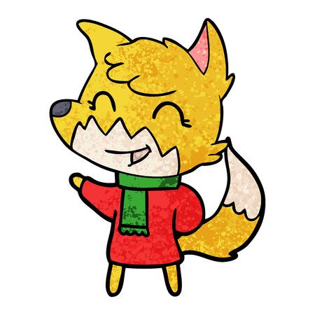 happy cartoon fox Vector illustration.