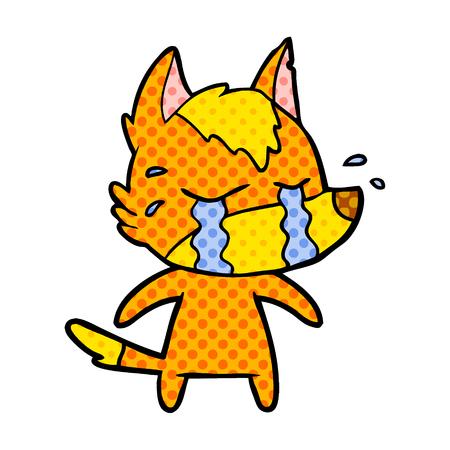 sad little fox cartoon character Vector illustration.