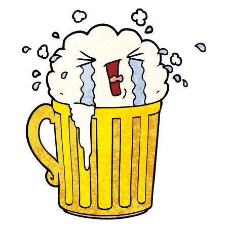 cartoon mug of beer crying Vector illustration.