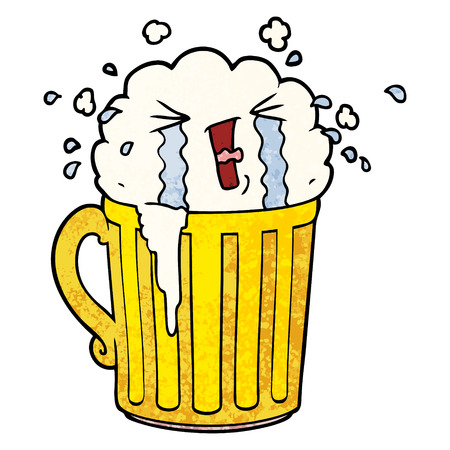 cartoon mug of beer crying Vector illustration.