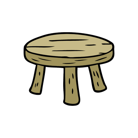 Cartoon small wooden stool