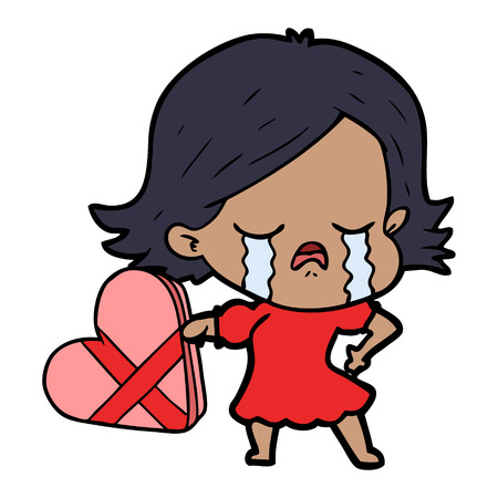 cartoon girl crying over valentines day present