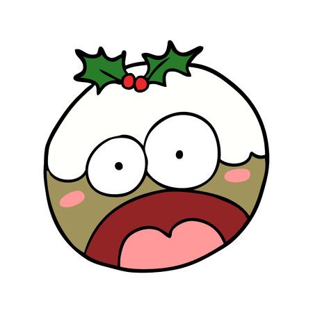 ショックを受けた顔をした漫画のクリスマスプリン