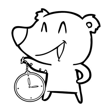 Cartone animato orso che ride con orologio da tasca Archivio Fotografico - 94856111