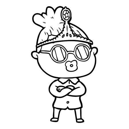 眼鏡とティアラを着ている漫画の女性