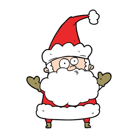 Cartoon confused Santa Claus shrugging shoulders.