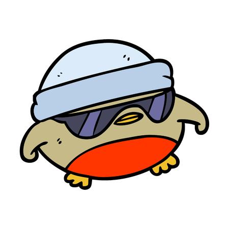 cool christmas robin cartoon with sunglasses 向量圖像