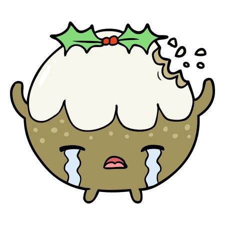Cartoon Christmas pudding crying. Vettoriali