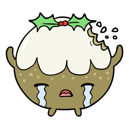 Cartoon Christmas pudding crying. Illustration