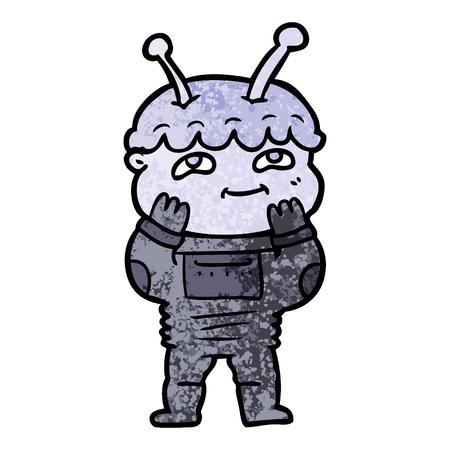 Surprised cartoon spaceman.