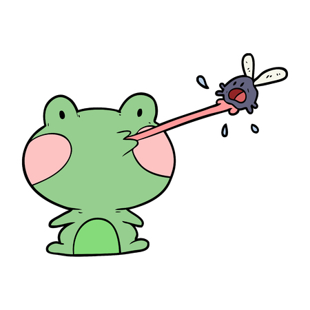 Cute cartoon frog catching fly with tongue.