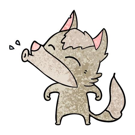 Howling wolf cartoon.