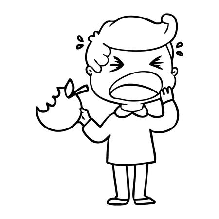 Cartoon schreeuwende man met slechte tand. Stock Illustratie